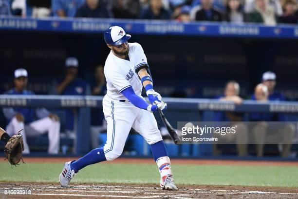 Toronto Blue Jays Center field Kevin Pillar bats during the MLB regular season game between the Toronto Blue Jays and the Baltimore Orioles on...