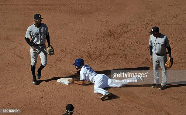 TORONTO ON SEPTEMBER 25 Toronto Blue Jays center fielder Dalton Pompey steals second in the 8th after a botched run down throw On the left is New...