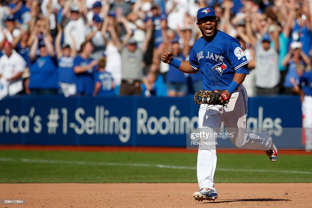 Toronto Blue Jays designated hitter Edwin Encarnacion celebrates the Jays win Toronto Blue Jays V Minnesota Twins in MLB action at Rogers Centre Jays...