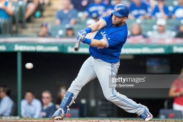 Toronto Blue Jays designated hitter Kendrys Morales singles to center to drive in a run during the first inning of the Major League Baseball game...