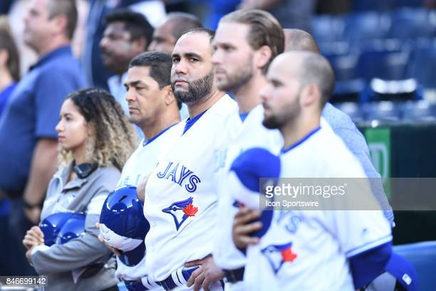 Toronto Blue Jays Designated hitter Kendrys Morales stands during national anthems before the MLB regular season game between the Toronto Blue Jays...