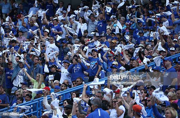Toronto Blue Jays fans wave white hankies during MLB game action against the Tampa Bay Rays on September 26 2015 at Rogers Centre in Toronto Ontario...