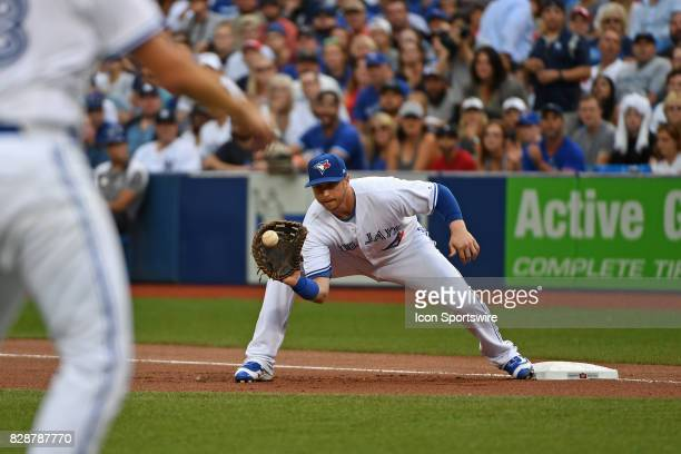 Toronto Blue Jays First base Justin Smoak makes a play at first base during the regular season MLB game between the New York Yankees and Toronto Blue...
