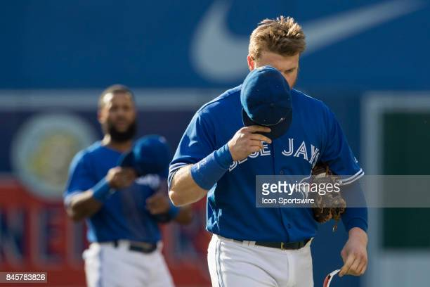 Toronto Blue Jays First baseman Justin Smoak during the change of innings in the regular season MLB game between the Detroit Tigers and the Toronto...