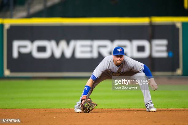 Toronto Blue Jays first baseman Justin Smoak is set in the seventh inning of a MLB game between the Houston Astros and the Toronto Blue Jays at...