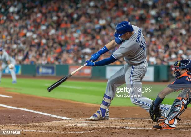 Toronto Blue Jays first baseman Justin Smoak lined out to left in the third inning of the MLB game between the Toronto Blue Jays and Houston Astros...