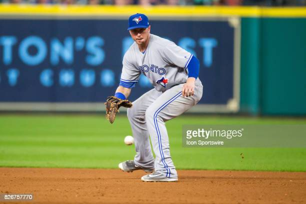 Toronto Blue Jays first baseman Justin Smoak makes a fielding play for the out in the eighth inning of a MLB game between the Houston Astros and the...