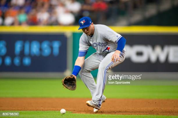 Toronto Blue Jays first baseman Justin Smoak makes a play for the out in the sixth inning of a MLB game between the Houston Astros and the Toronto...