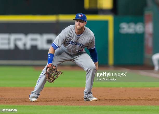 Toronto Blue Jays first baseman Justin Smoak watches the pitch during the MLB game between the Toronto Blue Jays and Houston Astros on August 6 2016...