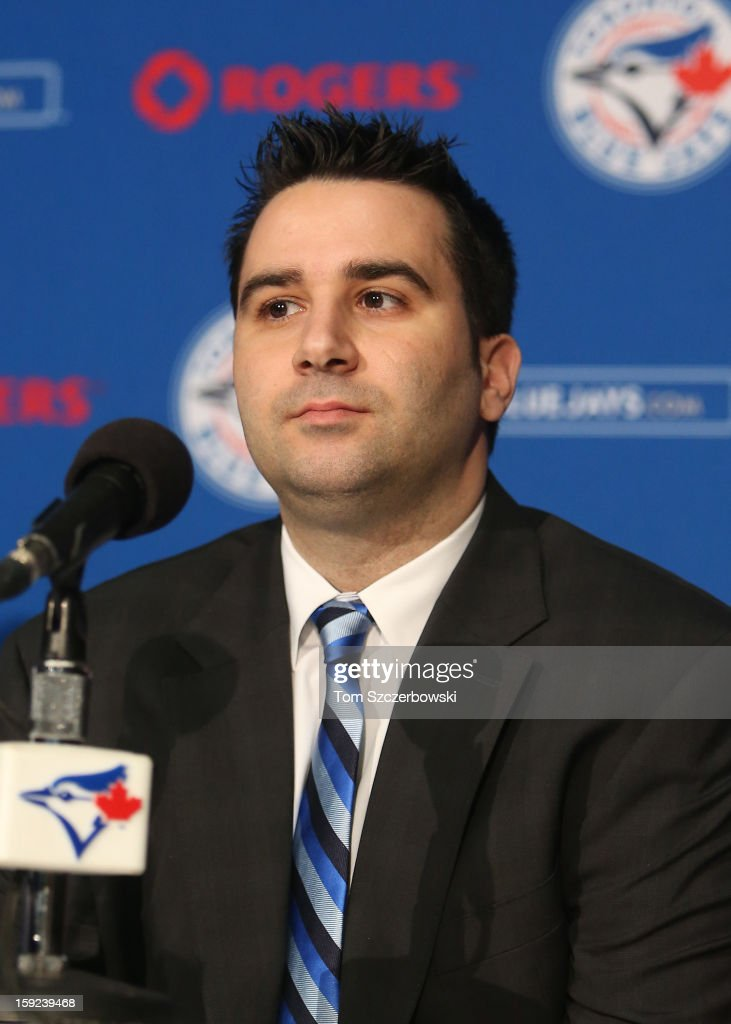 Toronto Blue Jays general manager Alex Anthopoulos at the press conference introducing R.A. Dickey #43 of the Toronto Blue Jays at Rogers Centre on January 8, 2013 in Toronto, Ontario, Canada.