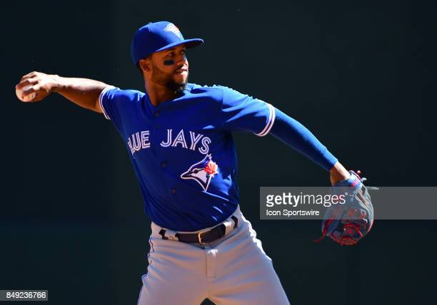 Toronto Blue Jays Infield Richard Urena throws to 1st during a MLB game between the Minnesota Twins and Toronto Blue Jays on September 17 2017 at...