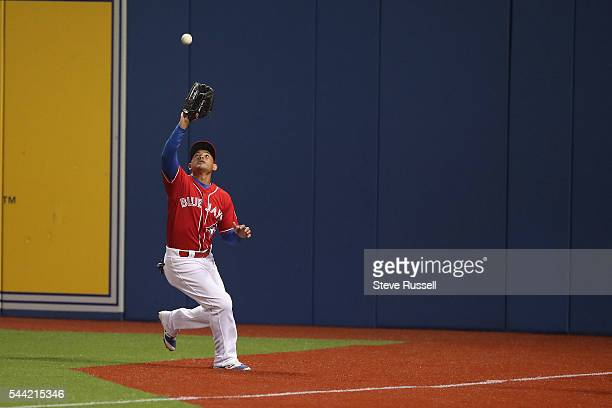 TORONTO ON JULY 1 Toronto Blue Jays left fielder Ezequiel Carrera makes a catch as the Toronto Blue Jays lose the Cleveland Indians 21 in 19 innings...