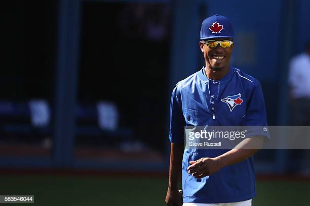 TORONTO ON JULY 26 Toronto Blue Jays left fielder Melvin Upton Jr watched the game from the visitors dugout last night today he will watch from the...