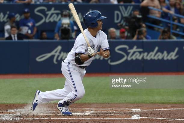 TORONTO ON AUGUST 9 Toronto Blue Jays left fielder Norichika Aoki leaves the batter's box as the Toronto Blue Jays lose to the New York Yankees at...
