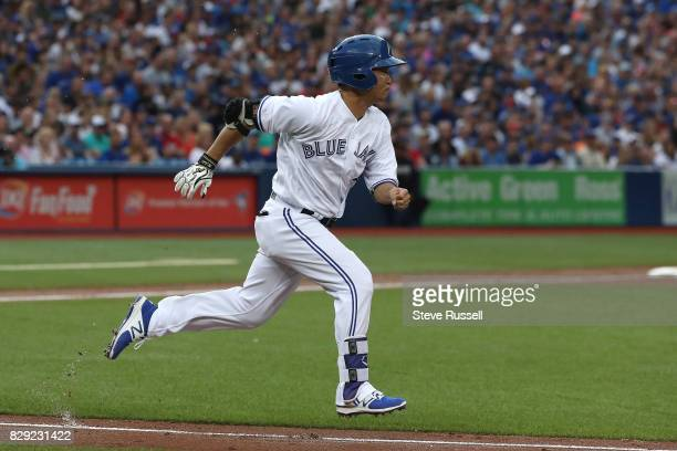 TORONTO ON AUGUST 9 Toronto Blue Jays left fielder Norichika Aoki sprints up the first base line as the Toronto Blue Jays lose to the New York...