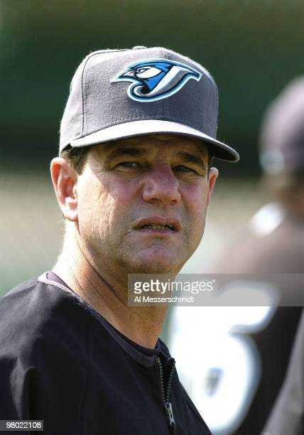 Toronto Blue Jays manager Carlos Tosca watches the start of spring training at the Toronto Blue Jays complex February 24 2004 in Dunedin Florida