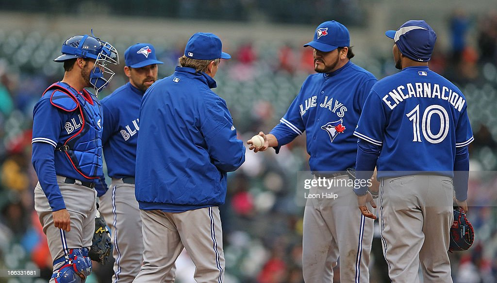 Toronto Blue Jays manager <a gi-track='captionPersonalityLinkClicked' href=/galleries/search?phrase=John+Gibbons&family=editorial&specificpeople=218120 ng-click='$event.stopPropagation()'>John Gibbons</a> #5 makes a pitching change in the fifth inning replacing Edgar Gonzalez #35 during the game against the Detroit Tigers at Comerica Park on April 11, 2013 in Detroit, Michigan. The Tigers defeated the Blue Jays 11-1.