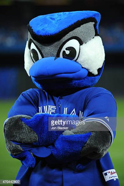Toronto Blue Jays mascot ACE seen on the field before the game against the Tampa Bay Rays at the Rogers Centre on Monday April 13 2015 in Toronto...