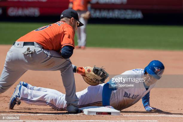 Toronto Blue Jays Outfielder Ezequiel Carrera slides safely back to first as Houston Astros First baseman Yulieski Gurriel apply's the tag in the...