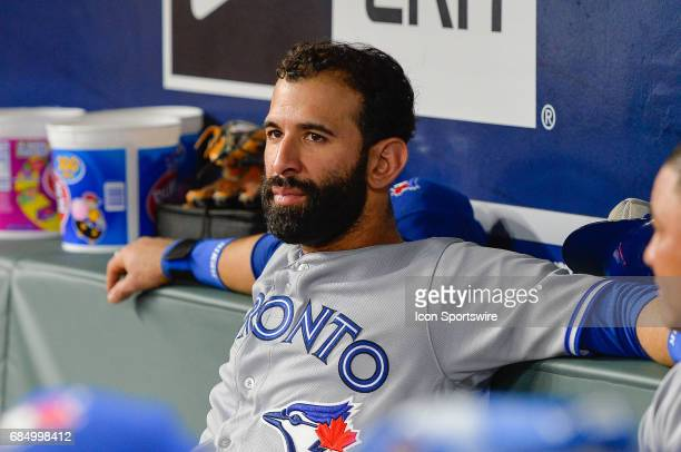 Toronto Blue Jays outfielder Jose Bautista relaxes on the bench during a game between the Atlanta Braves and Toronto Blue Jays on May 18 2017 at...