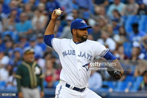 Toronto Blue Jays Pitcher Cesar Valdez pitches during the MLB regular season game between the Oakland Athletics and Toronto Blue Jays at Rogers...
