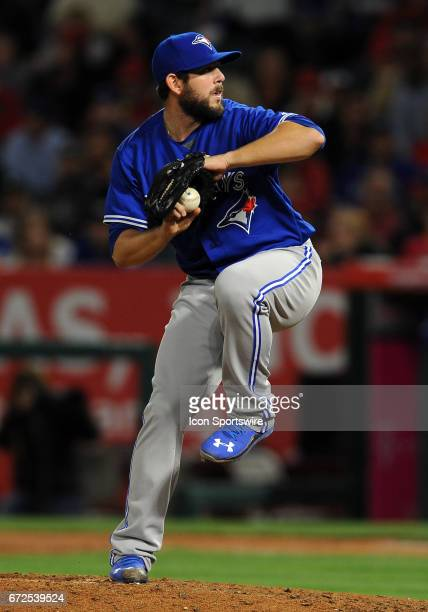 Toronto Blue Jays pitcher Dominic Leone in action during the sixth inning of a game against the Los Angeles Angels of Anaheim on April 24 played at...