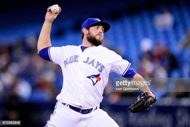 Toronto Blue Jays Pitcher Dominic Leone throws a pitch during the MLB regular season game between the Toronto Blue Jays and the Boston Red Sox on...