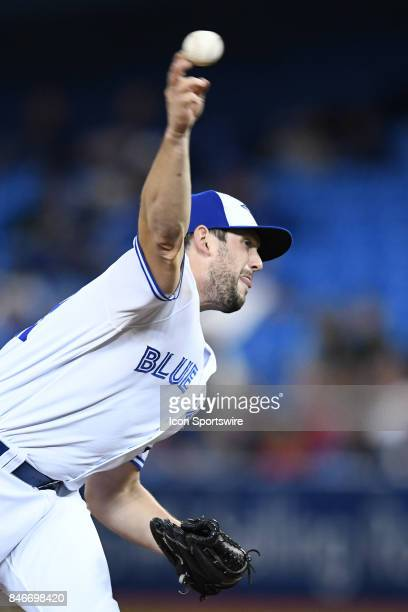Toronto Blue Jays Pitcher Dominic Leone throws a pitch during the MLB regular season game between the Toronto Blue Jays and the Baltimore Orioles on...