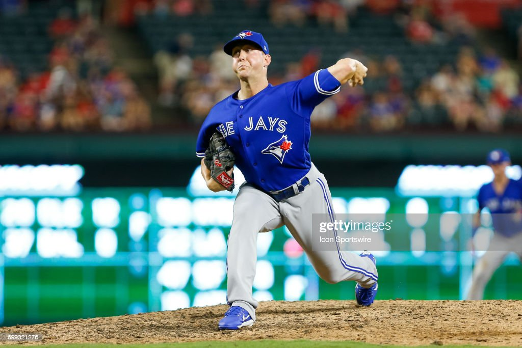 Toronto Blue Jays Pitcher Jeff Beliveau (36) comes on in relief during the MLB game between the Toronto Blue Jays and Texas Rangers on June 19, 2017 at Globe Life Park in Arlington, TX. Toronto defeats Texas 7-6.
