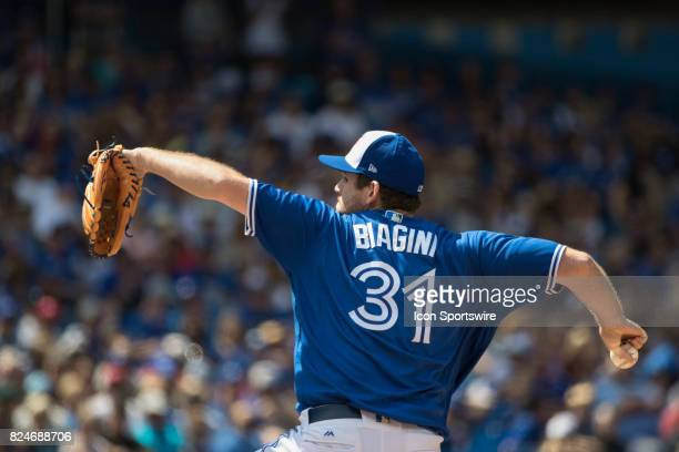 Toronto Blue Jays Pitcher Joe Biagini pitches in relief during the regular season MLB game between the Los Angeles Angels of Anaheim and the Toronto...