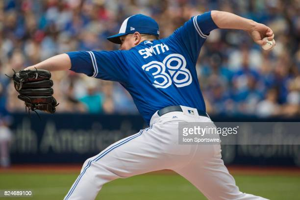 Toronto Blue Jays Pitcher Joe Smith pitches during the regular season MLB game between the Los Angeles Angels of Anaheim and the Toronto Blue Jays at...