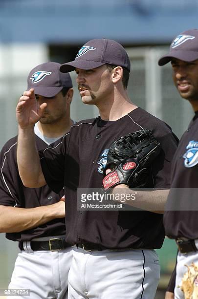 Toronto Blue Jays pitcher Pat Hentgen watches practice March 3 2004 in Dunedin Florida