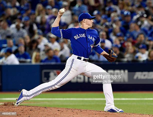 Toronto Blue Jays relief pitcher Aaron Sanchez throws during the seventh inning on Monday Oct 19 at Rogers Centre in Toronto