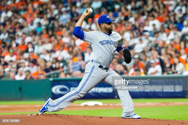 Toronto Blue Jays relief pitcher Cesar Valdez delivers the pitch in the first inning of a MLB game between the Houston Astros and the Toronto Blue...
