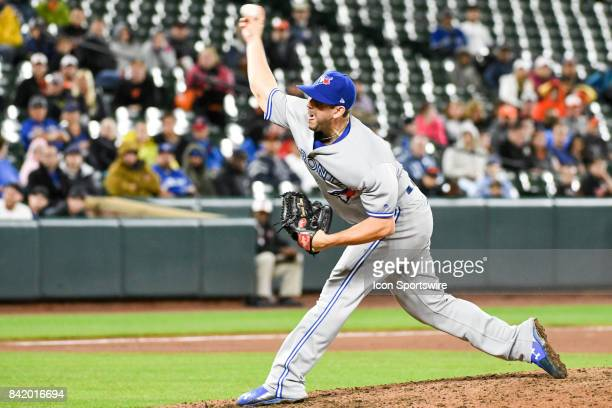 Toronto Blue Jays relief pitcher Dominic Leone pitches in the eighth inning during an MLB game between the Toronto Blue Jays and the Baltimore...