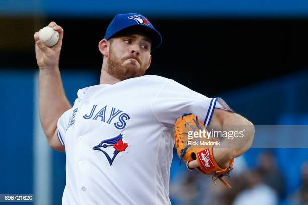 Toronto Blue Jays relief pitcher Joe Biagini during top half of 1st inning Toronto Blue Jays Vs Chicago White Sox in MLB regular season play at...