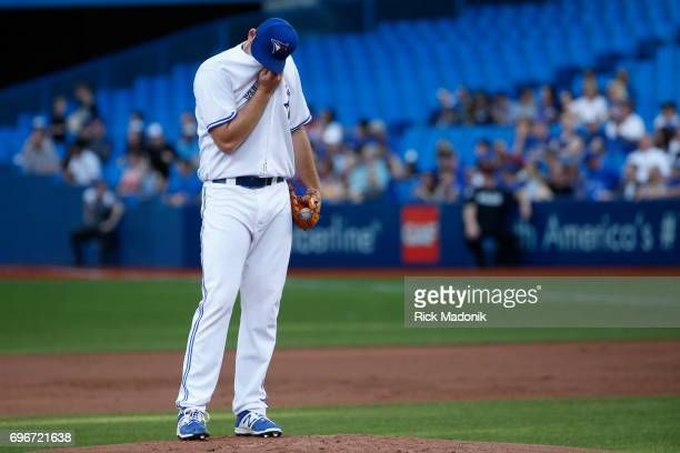 Toronto Blue Jays relief pitcher Joe Biagini having a bad night Toronto Blue Jays Vs Chicago White Sox in MLB regular season play at Rogers Centre in...