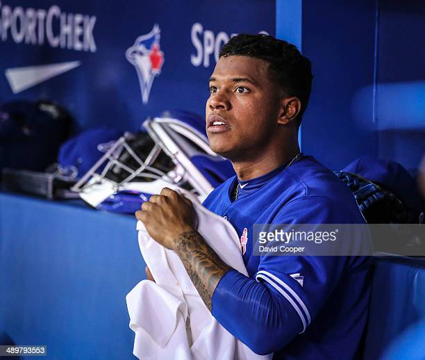 TORONTO ON MAY 11 Toronto Blue Jays relief pitcher Marcus Stroman sits in the duggout after pitching the top of the 6th inning The Toronto Blue Jays...