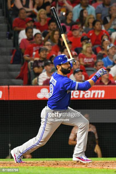 Toronto Blue Jays Right field Jose Bautista is robbed of an extra base hit during an MLB game between the Toronto Blue Jays and the Los Angeles...