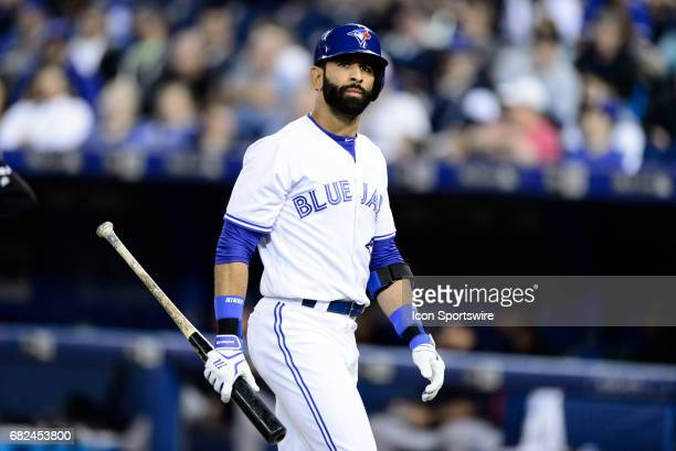Toronto Blue Jays Right field Jose Bautista reacts during the MLB regular season game between the Toronto Blue Jays and the Cleveland Indians on May...