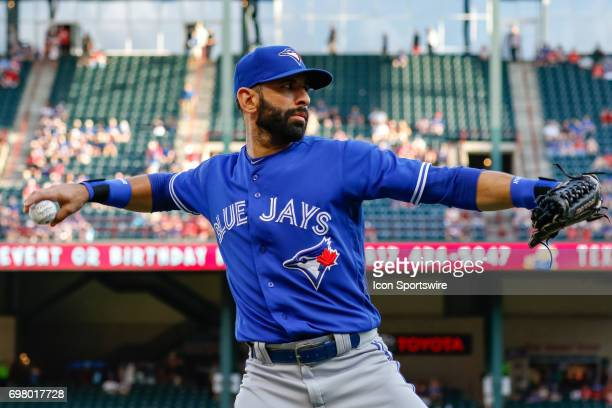 Toronto Blue Jays Right field Jose Bautista warms up prior to the MLB game between the Toronto Blue Jays and Texas Rangers on June 19 2017 at Globe...