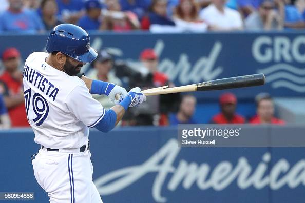 TORONTO ON JULY 25 Toronto Blue Jays right fielder Jose Bautista breaks his bat hitting into a double play in his second at bat as the Toronto Blue...