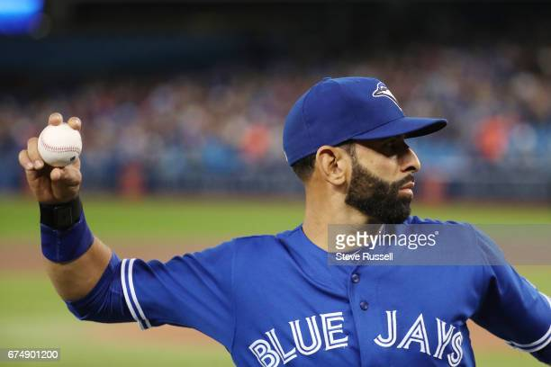 TORONTO APRIL 29 Toronto Blue Jays right fielder Jose Bautista loosens up before the game as the Toronto Blue Jays beat the Tampa Bay Rays 41 at the...