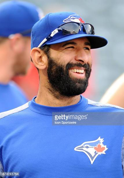 Toronto Blue Jays right fielder Jose Bautista on the field during batting practice before a game against the Los Angeles Angels of Anaheim on April...