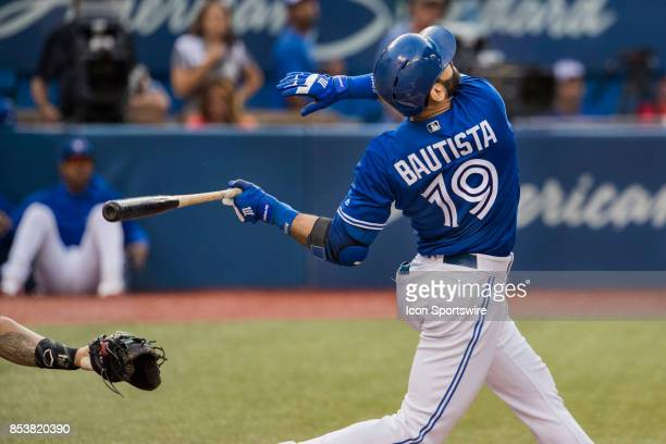 Toronto Blue Jays Right fielder Jose Bautista strikes out in what may be his second last game in a Jays uniform during the regular season MLB game...
