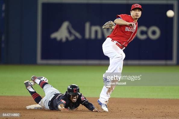 TORONTO ON JULY 1 Toronto Blue Jays second baseman Darwin Barney turns the double play as Francisco Lindor looks on as the Toronto Blue Jays lose the...