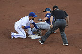 TORONTO ON JULY 22 Toronto Blue Jays second baseman Devon Travis was late on the tag and Seattle Mariners left fielder Norichika Aoki was safe at...