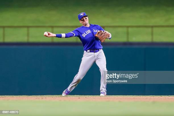 Toronto Blue Jays second baseman Ryan Goins plays a ground ball during the MLB game between the Toronto Blue Jays and Texas Rangers on June 19 2017...