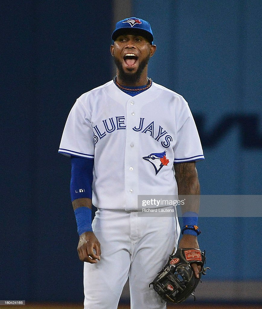 TORONTO, ON - SEPTEMBER 12 - Toronto Blue Jays shortstop <a gi-track='captionPersonalityLinkClicked' href=/galleries/search?phrase=Jose+Reyes+-+Baseball+Player&family=editorial&specificpeople=203307 ng-click='$event.stopPropagation()'>Jose Reyes</a> (7) makes some faces on field in the 5th.The Toronto Blue Jays took on the Los Angeles Angels of Anaheim at the Rogers Centre in Toronto.September 12, 2013.