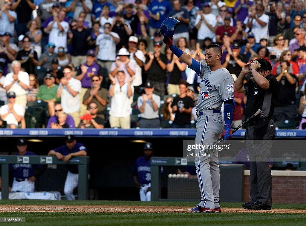 Toronto Blue Jays shortstop <a gi-track='captionPersonalityLinkClicked' href=/galleries/search?phrase=Troy+Tulowitzki&family=editorial&specificpeople=757353 ng-click='$event.stopPropagation()'>Troy Tulowitzki</a> (2) acknowledges the crowd after a standing ovation as he steps in the batters box during the second inning against the Colorado Rockies June 27, 2016 at Coors Field. (Photo By John Leyba/The Denver Pos